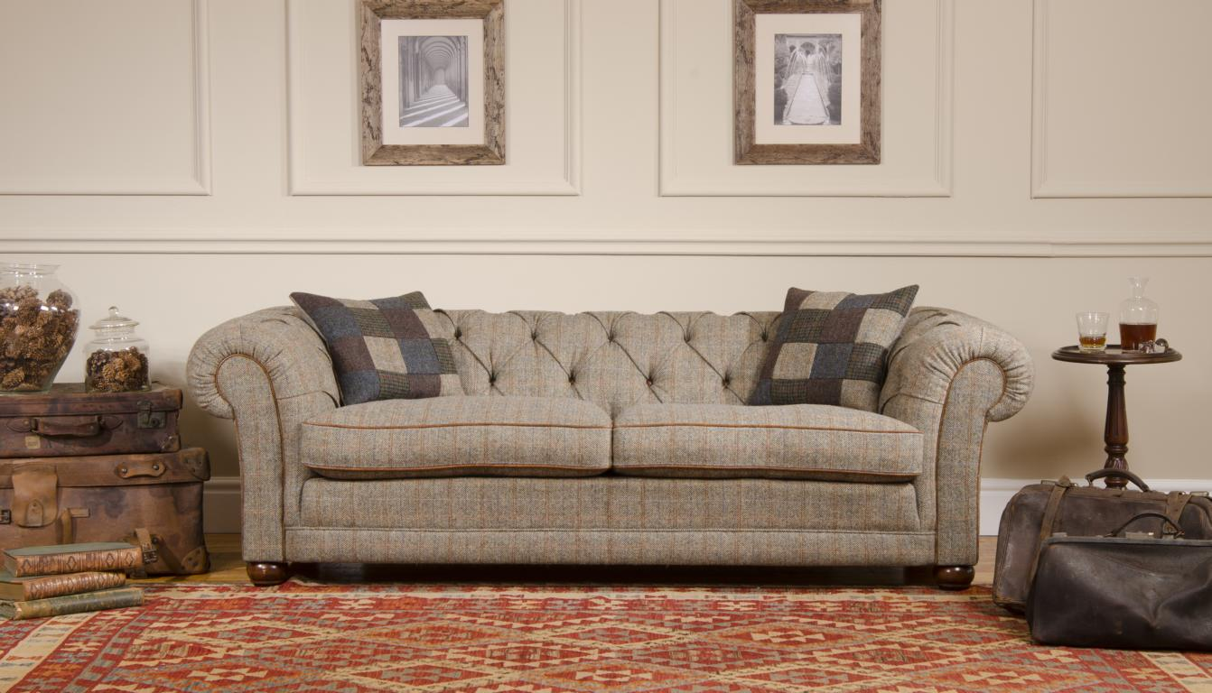 harris tweed collection glasgow chesterfield in harris tweed. Black Bedroom Furniture Sets. Home Design Ideas